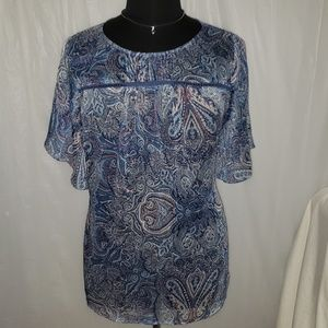 Sonoma 3X flowy butterfly sleeve sheer top